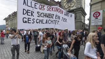 Demonstranten vor der Berner Zytgloggeturm