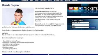 Gemäss RTL nur eine technische Panne: Daniel Negroni als Superstar 2012