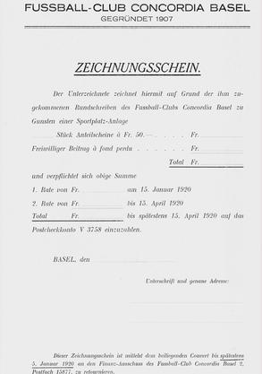 Ein Zeichnungsschein für die Finanzierung des Sportplatzes Heiligholz.