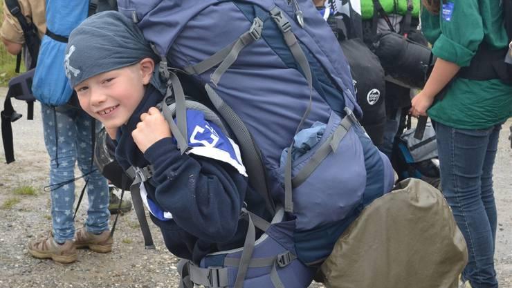 Viel Freude im Gesicht und viel Gepäck am Rücken – das fägt! Silvia Stierli