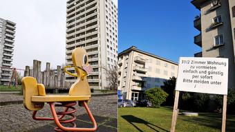 Das Längiquartier in Pratteln im Kanton Basel-Landschaft (links): das Pendant zum Lingeritzquartier in der Stadt Grenchen am Jurasüdfuss (rechts).