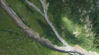 Im Spreitgraben bei Guttannen am Grimsel ging erneut ein Murgang hinunter