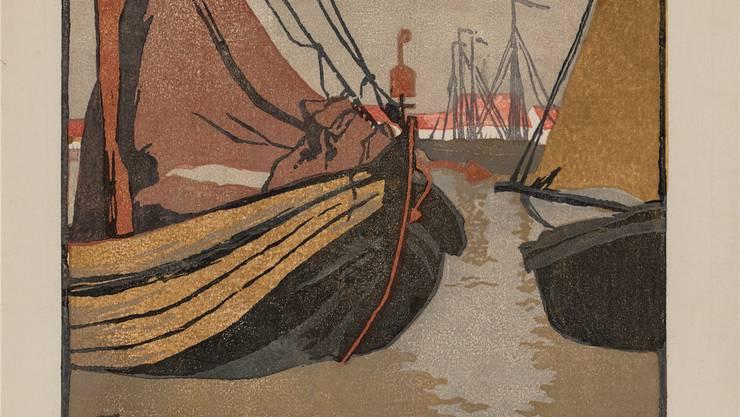 Der Farbholzschnitt von Martha Cunz «Holländischer Fischerhafen» entstand 1905 und lehnt ganz an die japanische Tradition an.