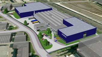 Projekt: Das neue Rhenus-Logistikcenter, (Visualisierung) an der Fegistrasse wird rund 230 Meter lang. Rechts davon Autobahn und SBB-Güterbahnhof Limmattal (zvg)