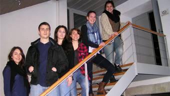 In der Windischer Bossartschüür vereint (von links): Géraldine Burger, Manuel Etterli, Kathrin Nutter,Zoé Pedrozzi, Bigna Suter und Rea Widmer. Edgar Zimmermann