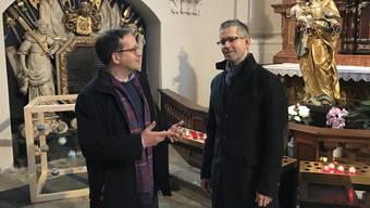 Thomas Ruckstuhl (links) und Andreas Reize freuen sich auf das neue Abendlob in der Jesuitenkirche.