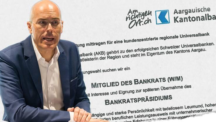 Die AKB sucht einen Nachfolger für Dieter Egloff als Bankratspräsident. Das zeigt ein Inserat in dieser Zeitung.