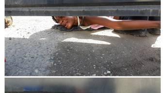 """""""Hilfe"""": Eine Frau in einem Auffanglager an Mexikos Südgrenze zu Guatemala bittet um Trinkwasser und Essen für sich und ihren Sohn."""