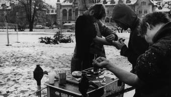 Die Drogenszene auf dem Platzspitz vor der Schliessung 1992