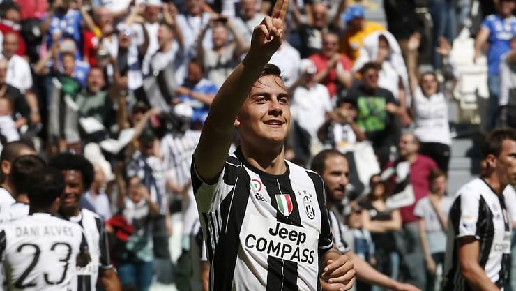 Juventus Turin jubelt (hier Paulo Dybala): Der sechste Titel in Folge ist in trockenen Tüchern