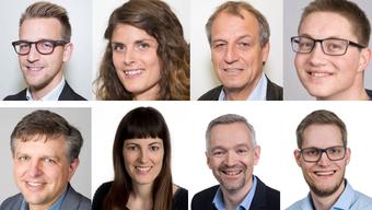 Die Kandidierenden der EVP von oben rechts im Uhrzeigersinn: Elia Leiser, Evelyne Arn, Ueli Leiser, David Burkhart, Partik Pfister, Jürg Meier, Brigitte Baumann, Richard Hürzeler.