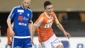 Alain Schultz (links, hier im Match gegen Lausanne) trifft gegen Schaffhausen