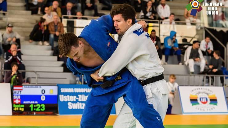 Michael Kistler (in blau) peilte am Judo Cup in Uster einen Medaillenplatz an. Am Schluss reichte es für Platz 5.