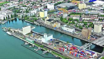 Das Dreiländereck am Basler Rheinhafen.