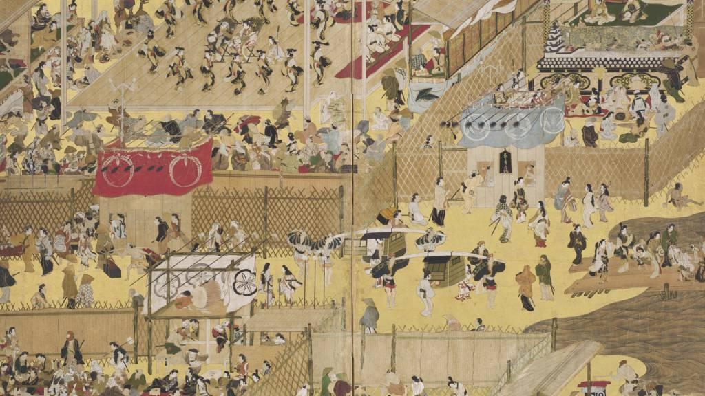In zwei Ausstellungen stellt das Zürcher Museum Rietberg unter dem Begriff der narrativen Kunst Japans traditionelle Bildrollen (hier: Szenen von Spektakeln am Flussbett der Shijō-Strasse) und Manga einander gegenüber.