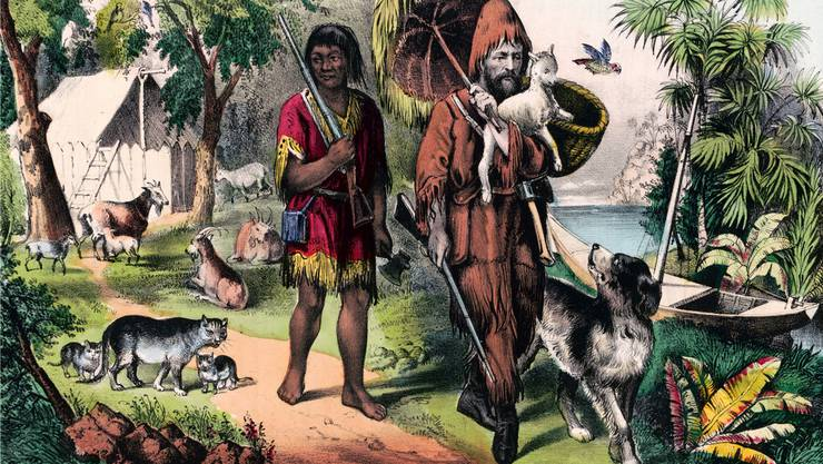 Ein Wilder wie Robinsons Gefährte Freitag (links) kann vom Kannibalen höchstens zum devoten Diener aufsteigen, so das Fazit des Romans. «Robinson Crusoe»-Autor Daniel Defoe war mit seinem Weltbild im Zeitgeist aufgehoben.