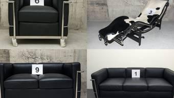 Wie aus dem Katalog: Diese gefälschten Designermöbel - von der Aargauer Staatsanwaltschaft beschlagnahmt - werden vernichtet