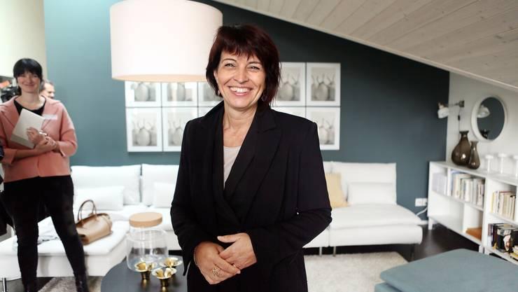 Bundesraetin Doris Leuthard besucht das erste energieautarken Mehrfamilienhaus der Welt