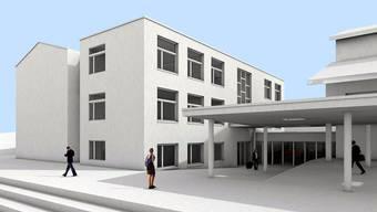 Visualisierung der Münchwiler Schulbauten nach der Sanierung des bestehenden Schulhauses (ganz links) und der Realisierung des Ergänzungsbaus daneben (ganz rechts ist noch ein Teil der Turnhalle zu sehen). – Illustration: pd
