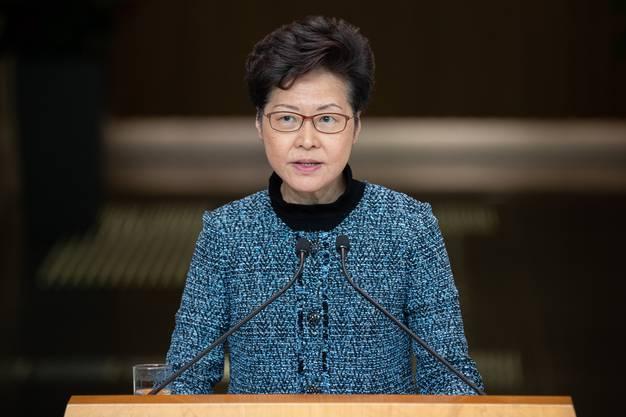 Hongkongs Regierungschefin, Carrie Lam, an ihrer wöchentlichen Pressekonferenz.