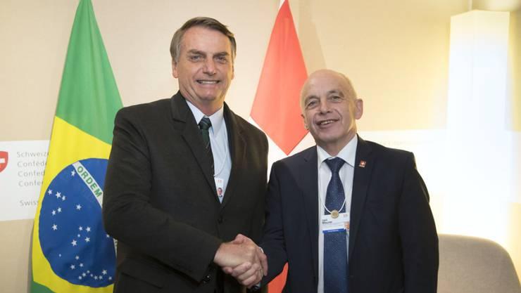 Bundespräsident Ueli Maurer (r.) und der neue brasilianische Präsident Jair Bolsonaro am Mittwoch am WEF in Davos