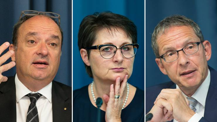 Drei der fünf Regierungsräte. Markus Dieth, Franziska Roth und Urs Hofmann.
