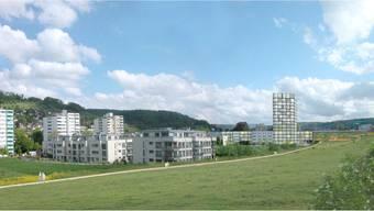 Ein Wohnturm mit 28 Mietwohnungen ist das markanteste Element der Planung.