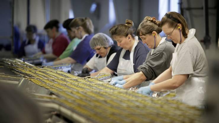 Arbeiterinnen in einer Lebensmittelfabrik (Symbolbild).