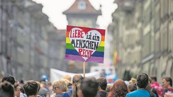 Teilnehmer der «Pride Ouest Berne» demonstrieren für die Rechte von Homosexuellen.Peter Klaunzer/Keystone