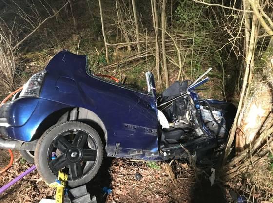 Ein 18-jähriger Autofahrer landet im Bachbett und fährt gegen einen Baum.