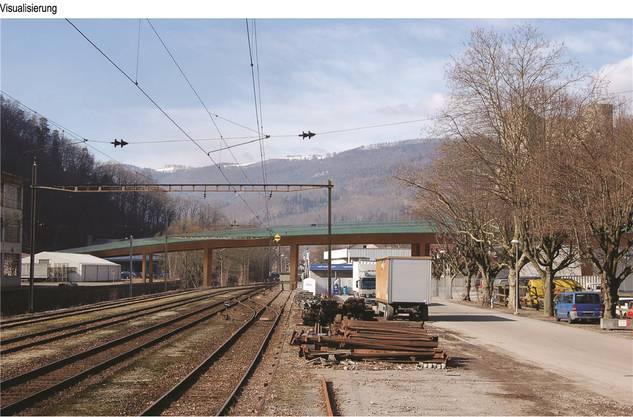 Der Viadukt über Parkplatz, Geleise und Dünnern wird so schlank wie möglich in Stahl und Beton konstruiert.