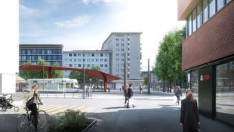 Westlich des künftigen Stadtplatzes (in der Visualisierung rechts) soll die Stadthalle zu stehen kommen.