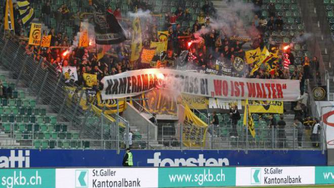 Die YB-Fans in St. Gallen am 4. Mai 2013 in der AFG-Arena. Foto: EQ Images