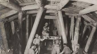 Arbeiter beim Hauensteintunnel