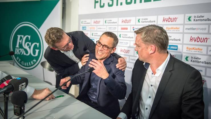 Matthias Hüppi bei seinem ersten Auftritt als VR-Präsident des FC St.Gallen.