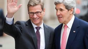 Der deutsche Aussenminister Guido Westerwelle mit seinem US-amerikanischen Amtskollegen John Kerry in Berlin