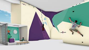 Die Visualisierung zeigt, wie sich die neue Kletterhalle im ehemaligen Rekrutierungszentrum in Unterwindisch präsentieren wird.Bild: zvg