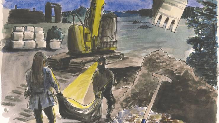 Das Berner Ehepaar soll eine Leiche vergraben haben. Illustration: Alexia Papadopoulos