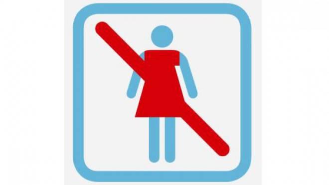 Piktogramm im Frauenbad.