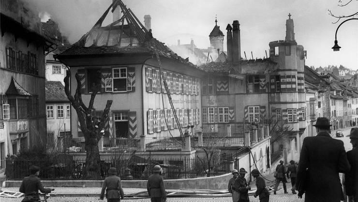 Schwere Schäden rund um den Münsterplatz, bei der Actienbrauerei Basel und am Restaurant «Thiergarten».