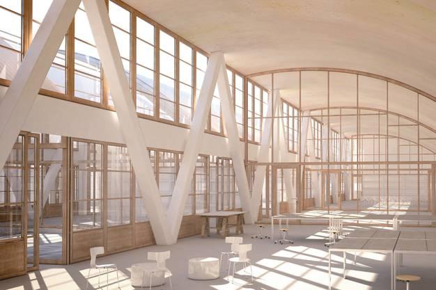 Visualisierung 1. Obergeschoss Schulanlage Freilager