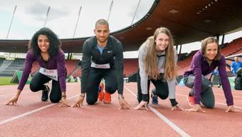 Bereit zum Start in die Saison: Die Schweizer Leichtathleten Mujinga Kambundji, Kariem Hussein, Noemi Zbären und Selina Büchel.