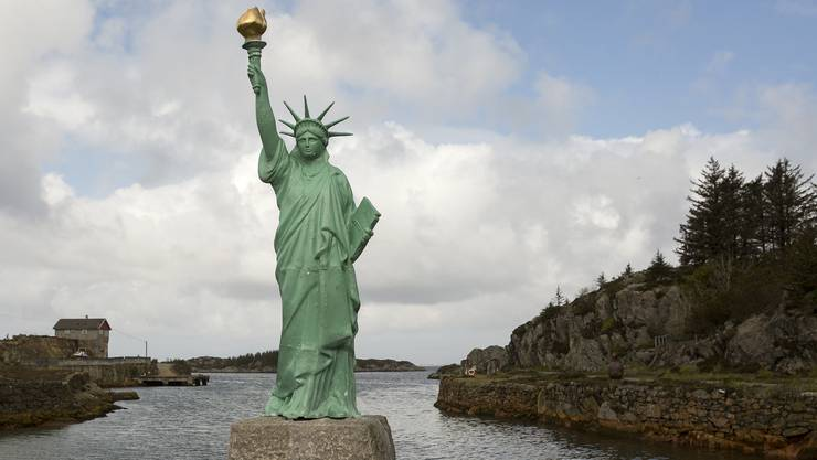Nicht ganz so gross wie in New York - eine kleine Kopie der Freiheitsstatue steht in Norwegen