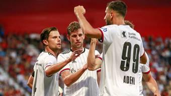 Valentin Stocker, Fabian Frei und Kemal Ademi: die drei Torschützen beim Basler 3:0-Erfolg bei Neuchâtel Xamax.