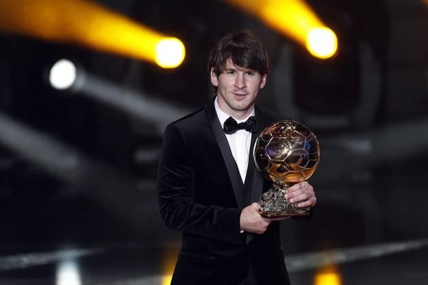 Messi mit dem Ballon d'Or - er hat nun bereits drei davon zu Hause stehen