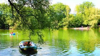 Idyllisch: Rund um den und auf dem Baggersee bei Meienried tummeln sich wieder Wasserratten und Sonnenhungrige. gy