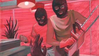 So stellt sich ein Zeichner den Überfall aufgrund der Schilderungen des Opfers vor (Teilansicht, die ganze Zeichnung finden Sie weiter unten im Text).