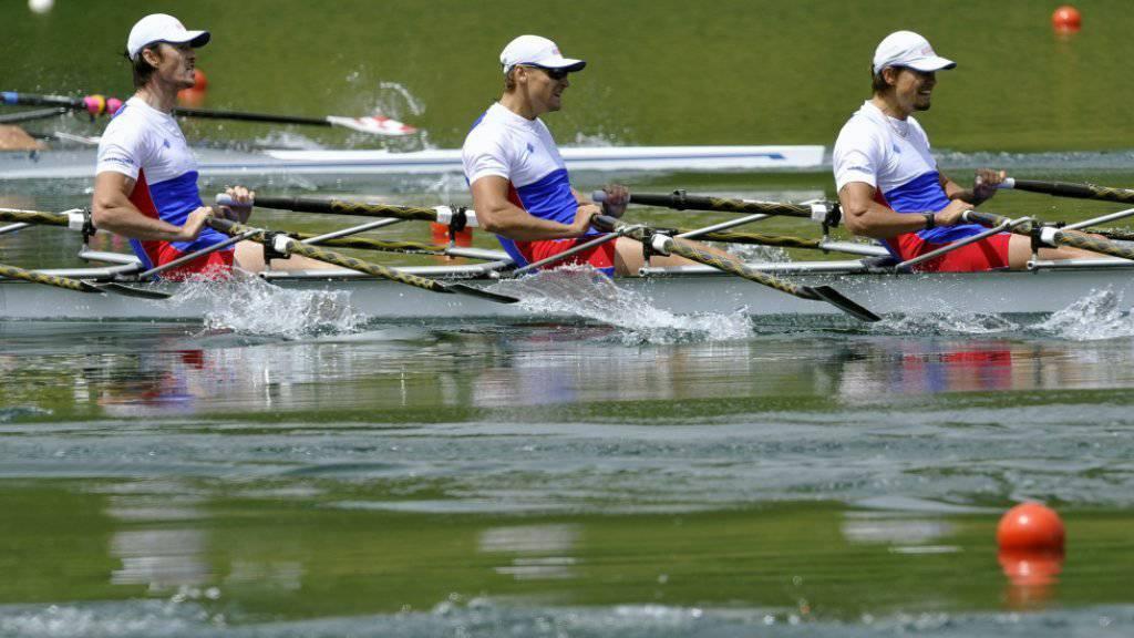 War gedopt: Sergej Fedorowzew (rechts) mit dem russischen Doppelvierer bei der Qualifikation für Rio auf dem Rotsee. (Archivbild)