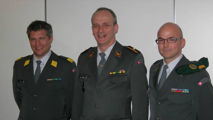 Major Philippe Arnet, Präsident KOG Solothurn; Brigadier Alexander Kohli, Präsident MVG, Hauptmann Andreas Dysli, Obmann Offiziere MVG.