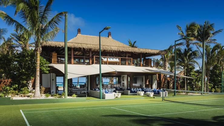 So sieht die Tennis-Anlage auf Necker Island, der Privatinsel von Multimilliardär Richard Branson, aus